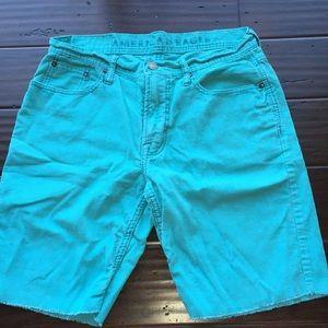 AEO aqua blue Corduroy shorts